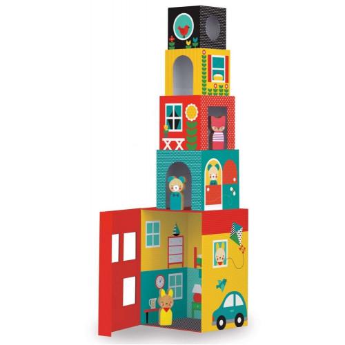 Petit Collage Věž z 1-2-3 kostek domečky s postavičkami