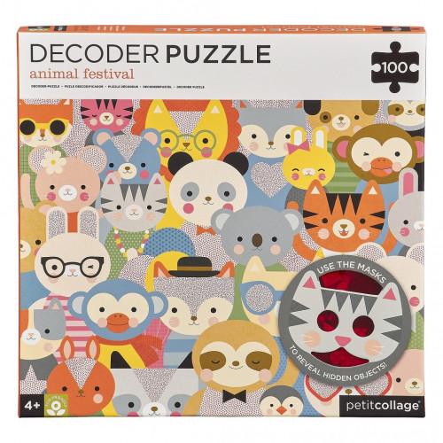 Petit Collage Puzzle zvířátka 100 ks s 3D brýlemi