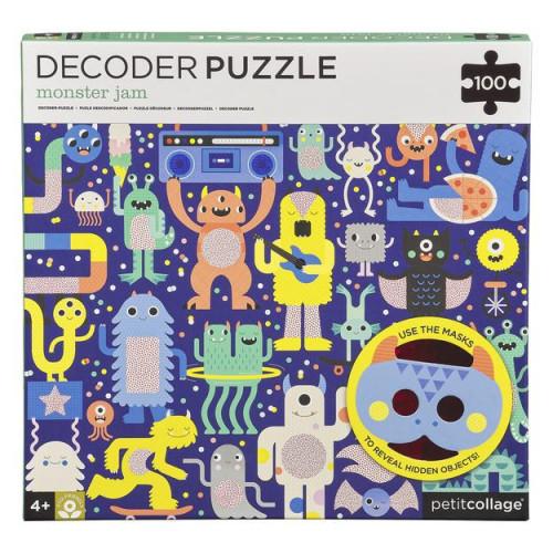 Petit Collage Puzzle příšerky 100 ks s 3D brýlemi