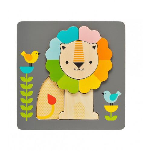 Petit Collage Dřevěné puzzle lev