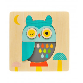 Petit Collage Dřevěné puzzle sova