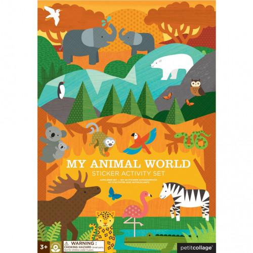 Petit Collage Znovupoužitelné samolepky se scénou Můj svět zvířat