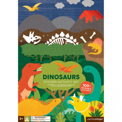 Petit Collage Znovupoužitelné samolepky se scénou Dinosauři