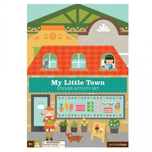 Petit Collage Znovupoužitelné samolepky se scénou Moje malé město