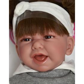 Antonio Juan Realistické miminko holčička Carla v šedém 40 cm