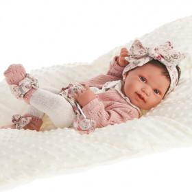 Antonio Juan Realistické miminko holčička Pipa  s mašlí 42 cm