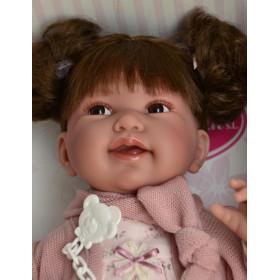 Antonio Juan Realistické miminko holčička Pipa  s culíčky 40 cm