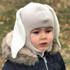 Dětská merino kukla s králičími oušky šedá