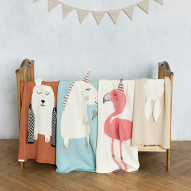 Pletená bavlněná deka BEAR terakotová