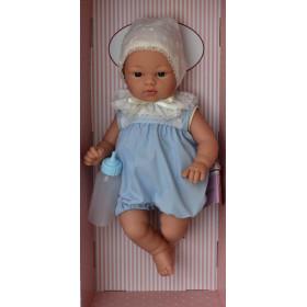 ASIVIL Realistické miminko chlapeček KOKE v krajkové čepičce 36 cm