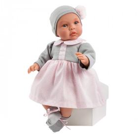 ASIVIL Realistické miminko Lea šedo-růžové šaty 46 cm