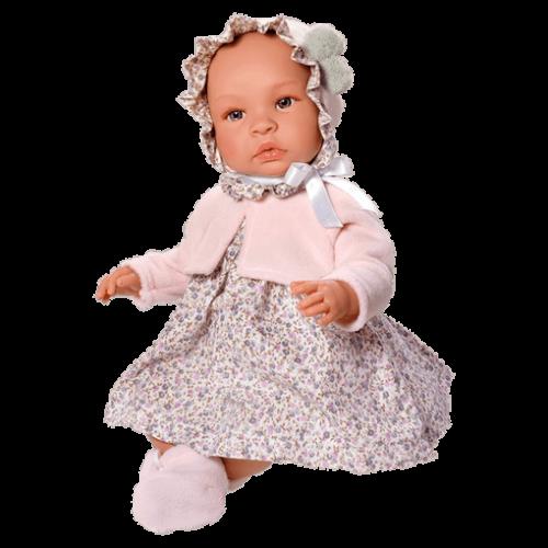 ASIVIL Realistické miminko Lea v růžovém bolerku 46 cm