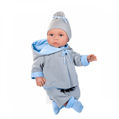 ASIVIL Realistické miminko Leo v soupravě s oboustrannou bundou 46 cm