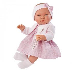 ASIVIL Realistické miminko MARÍA s mašlí na čelence 43 cm