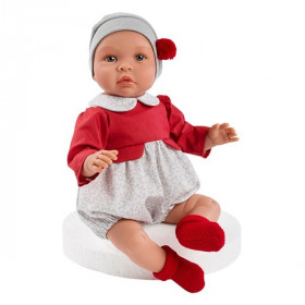 ASIVIL Realistické miminko Leo v červeno-šedém oblečku 46 cm