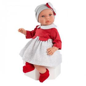 ASIVIL Realistické miminko Lea červeno-šedé šaty 46 cm