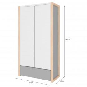 dvoudveřová šatní skříň BELLAMY Pinette Šedá