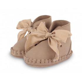 Dětské kožené botičky PINA ORGANZA Truffle Nubuck + Cedar Cotton