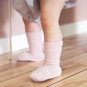 GoBabyGo protiskluzové ponožky bambusové světle růžové