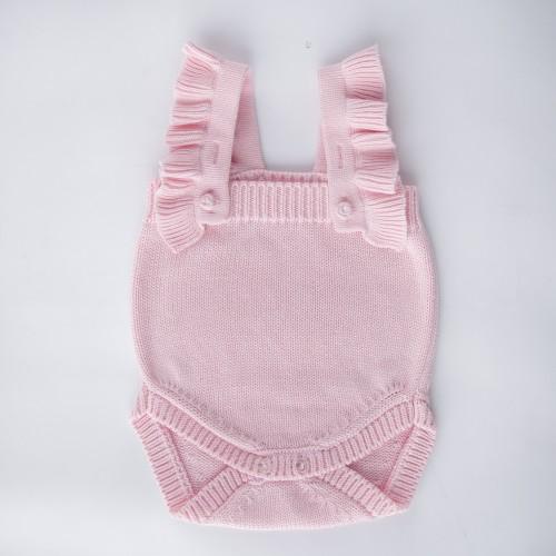 Pletené dětské body s volánky MILKY růžové