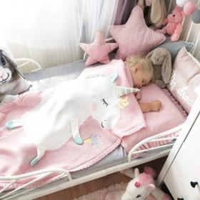 Dětská deka z merino vlny Unicorn světle růžová
