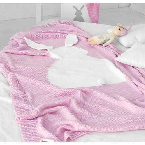 Dětská deka z merino vlny BUNNY růžová