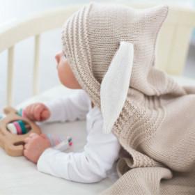 Dětská deka z merino vlny s kapucí vanilková