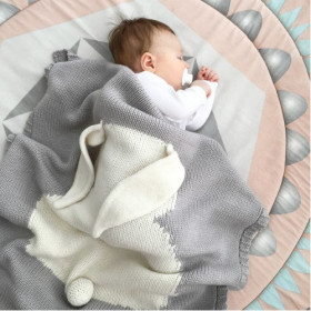 Malá dětská deka z merino vlny Bunny šedá