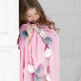 Dětská deka z merino vlny Pompon růžová