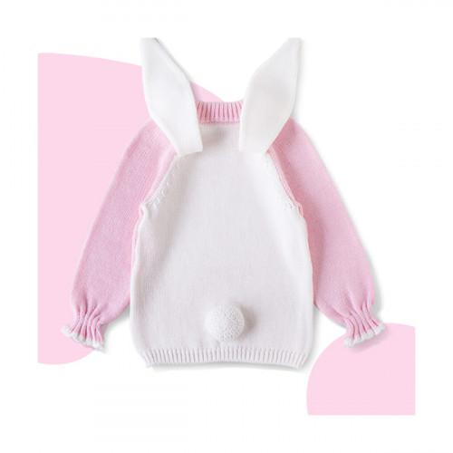 dětský svetr z vlny merino Bunny růžový
