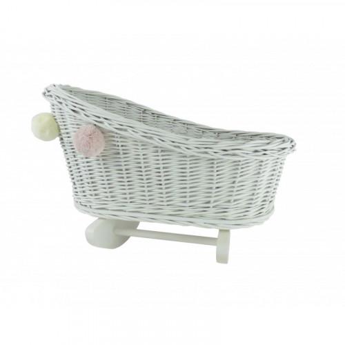 Proutěná kolébka pro panenky s bambulkami - Bílá/Bílá