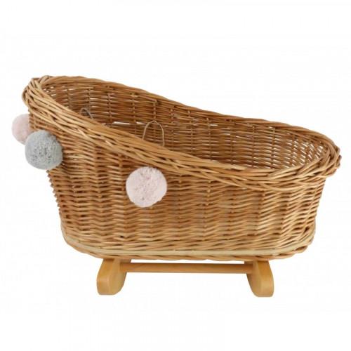 Velká proutěná kolébka pro panenky s bambulkami - Přírodní