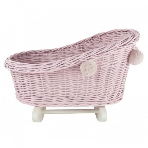 Velká proutěná kolébka pro panenky s bambulkami - Růžová/Bílá