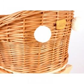 Proutěná kolébka pro panenky s bambulkami - Přírodní