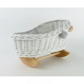Proutěná kolébka pro panenky s bambulkami - Bílá/Přírodní