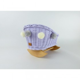 Proutěná kolébka pro panenky s bambulkami - Levandulová/Přírodní