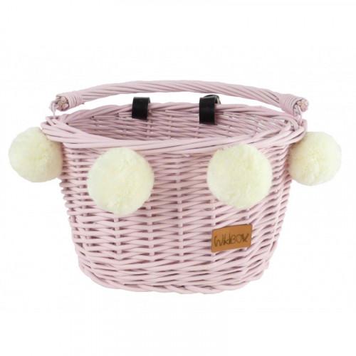 Proutěný koš na dětské kolo růžový s bambulkami na pásky