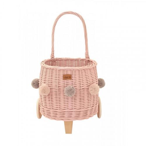 Proutěný koš na hračky na kolečkách PULLY růžový s bambulkami
