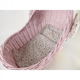 Proutěný kočárek pro panenky nízký růžový s povlečením MIX