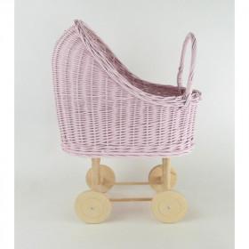 Proutěný kočárek pro panenky růžový