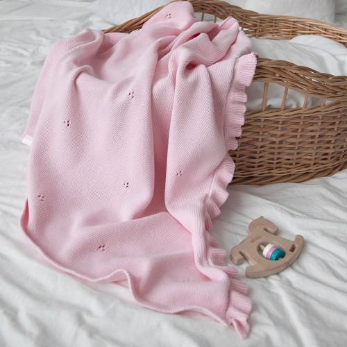Dětská pletená bavlněná deka Milky růžová