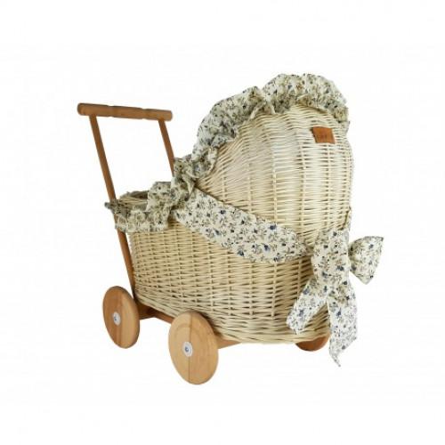 Proutěný kočárek pro panenky Holanďan režný s povlečením květiny