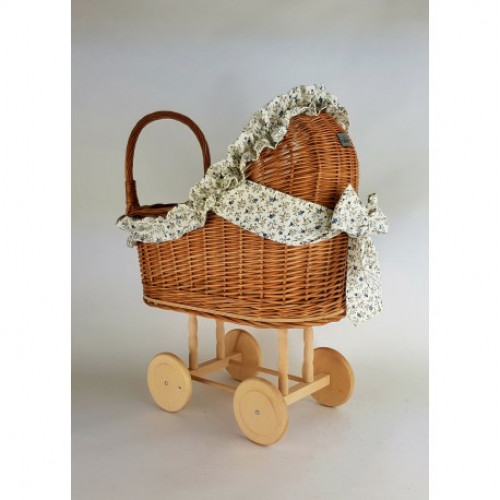 Proutěný kočárek pro panenky přírodní s povlečením květiny