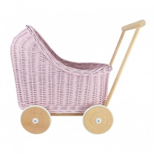 Proutěný kočárek pro panenky nízký růžový